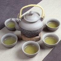 7pcs Rough pottery tea set, 1 pot and 6 teacup of Rough teapot teacup, pure handmade Furong Kung Fu teaset good gift