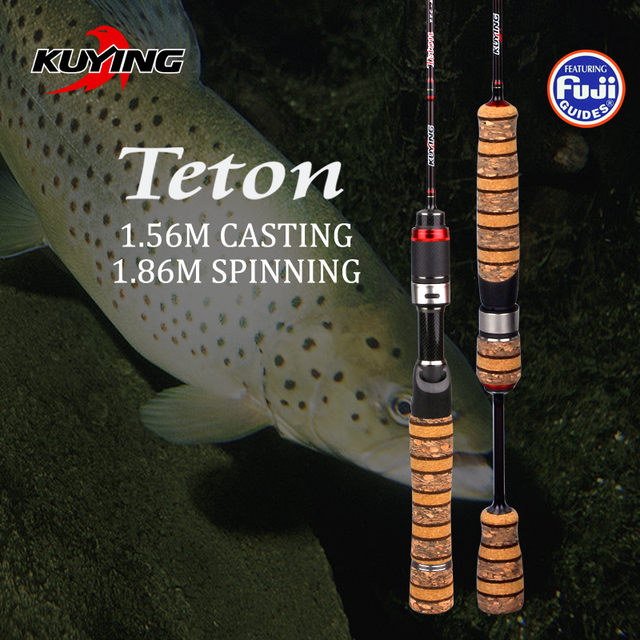KUYING Teton SUL Super Ultralight 1.56 m Fundição 1.86 m Fiação de Carbono Vara de Pesca Isca de Peixe Macio Cana de Ação Média Partes FUJI