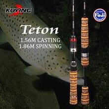 Kuying teton 1.86 metros sul súper ultraligero de carbono fuji spinning caña de pescar lure fish pole anillos de acción media envío libre