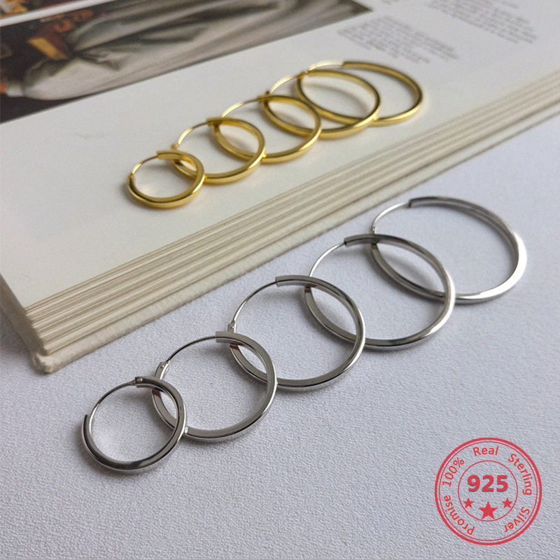5 Size 925 Sterling Silver Fashion Simple Big Small Hoop Earrings Fine Jewelry for Women