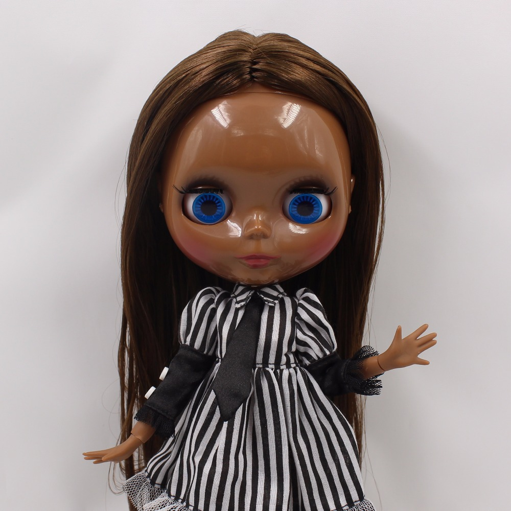 Neo Blythe Doll with Brown Hair, Black skin, Shiny Face & Jointed Body 4