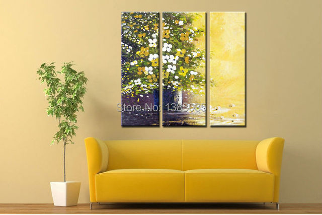 Hand Painted Abstract Flowers Canvas Painting Set 3 Piece Modern Oil ...