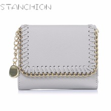 STANCHION Female European And American Style Weave Wallet Vintage Women Brand Small Lock Design Purse Small