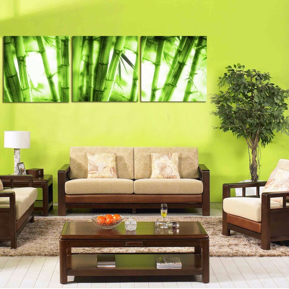 3 Pieces Bamboo Painting Fresh Green Picture Canvas Print Modern ...