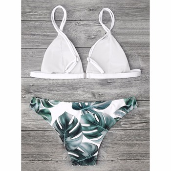 ZAFUL Sexy Brazilian Bikini Set Swimwear Women Swimsuit Bathing Suit Cami Palm Leaf Print Biquini Swim Suit Maillot De Bain 1
