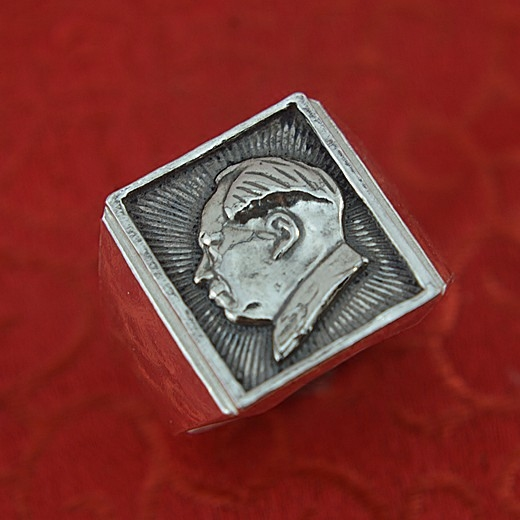 Carve jewelry original handmade retro 999 sterling silver ring man grandpa MAO head silver ring personality my grandpa