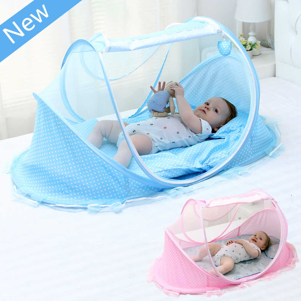 New Style Portable Newborn Baby Bed Mosquito Net with Cushion Pillow,Blue Solid Mosquito Netting for Baby Crib,Infant Kids Tent