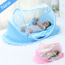 цена на New Style Portable Newborn Baby Bed Mosquito Net with Cushion Pillow,Blue Pink Mosquito Netting for Baby Crib,Infant Kids Tent