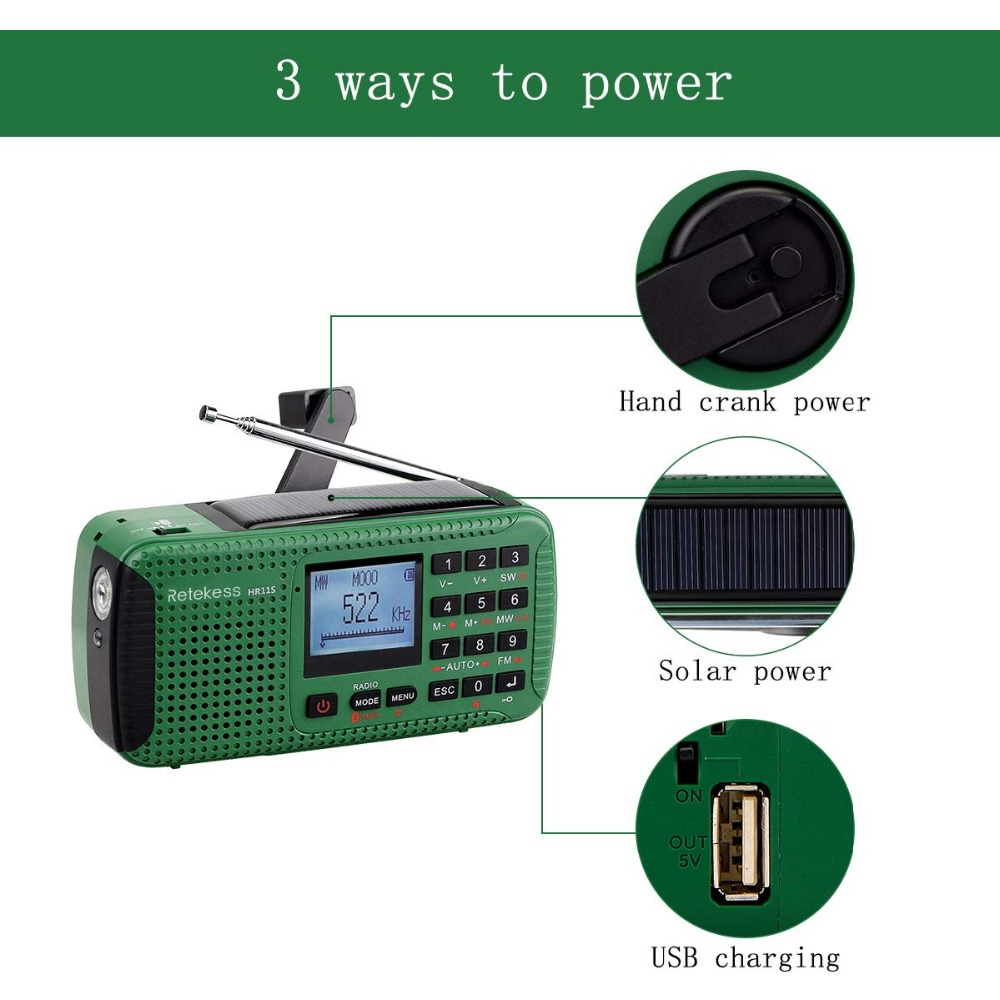 Image 5 - Retekess HR11S Radio durgence manivelle Radio solaire FM/MW/SW  Bluetooth lecteur MP3 enregistreur numérique Portablehand crank solar  radioemergency radiosolar radio