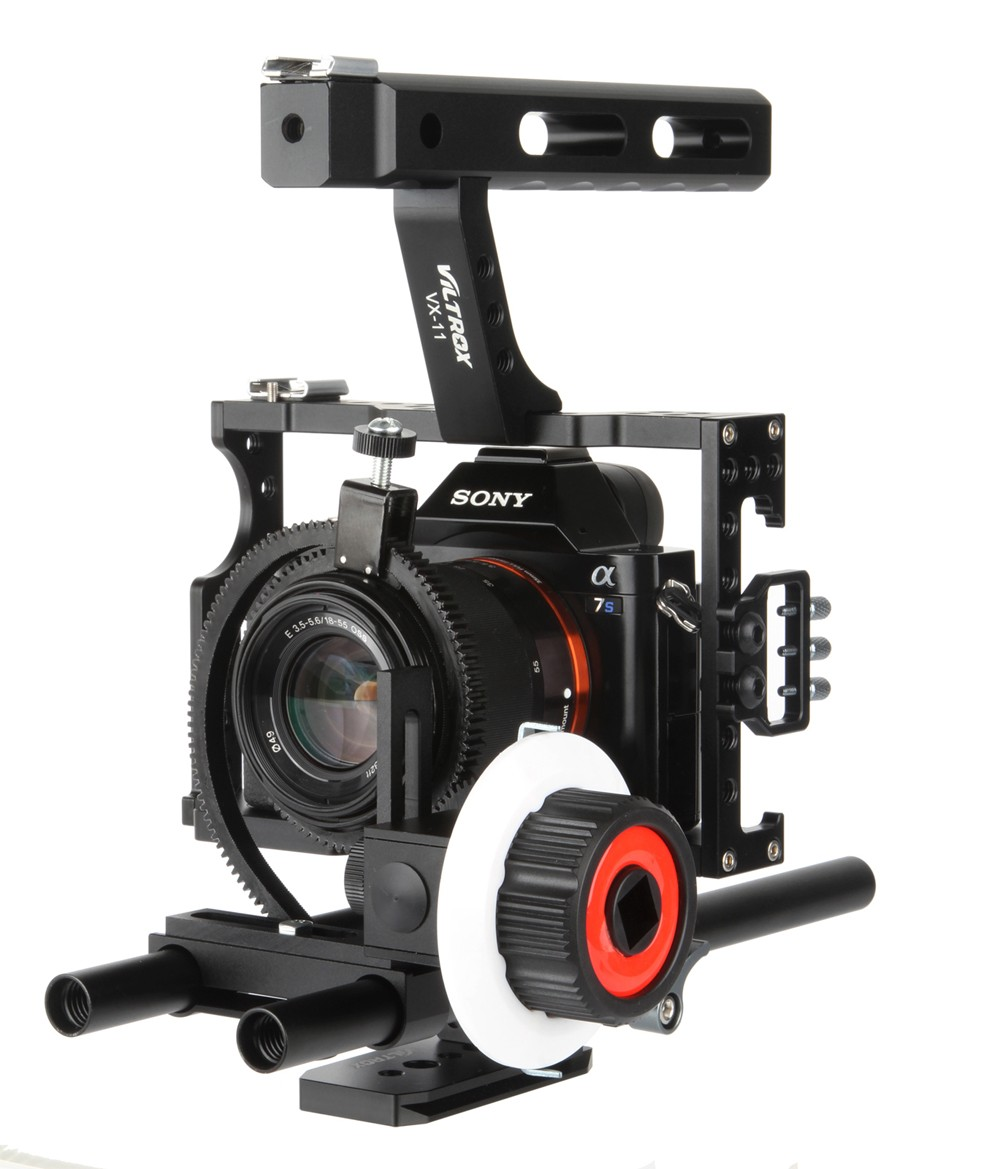 цена на 15mm Rod Rig DSLR Video Cage Camera Stabilizer+Top Handle Grip+Follow Focus for Sony A7 II A7r A7s A6300 Panasonic GH4 /EOS M5