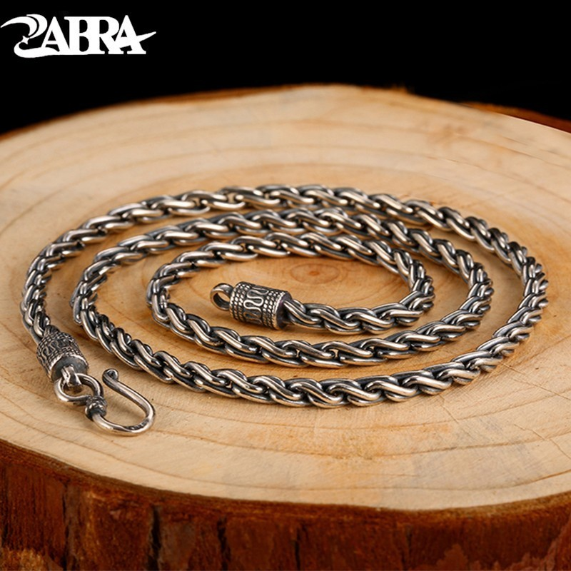 цена на ZABRA Vintage Real 925 Sterling Silver Twist Necklace Men Width 4mm Long 55cm Chain Punk Retro Style Biker Jewelry For Mens
