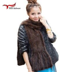 Modern Women Mink Fur Shawl Good Gift Real Fur Scarf Genuine Mink Scarf Hand Knitted Mink Scarf Winter Fur Scarf, hat gloves set