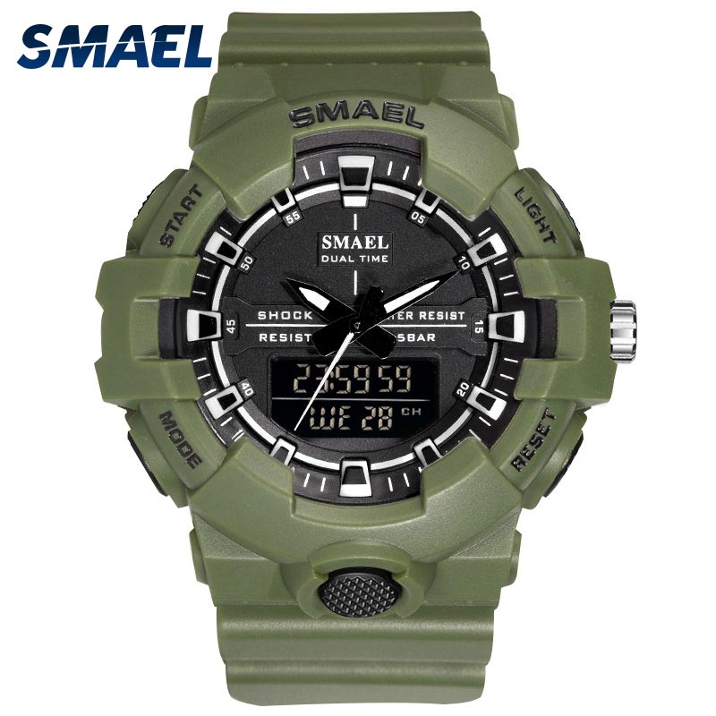 Military Men 39 s Watches SMAEL 50mm Big Dial Sport Watch Dual Display Male Clock Wristwatches 1642B LED Electronic Watch Man Clock in Sports Watches from Watches