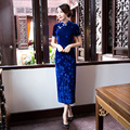 Spring New Red Blue Chinese Women's Velvet Qipao Sexy Long Cheongsam Vintage Embroidery Flower Dress S M L XL XXL XXXL