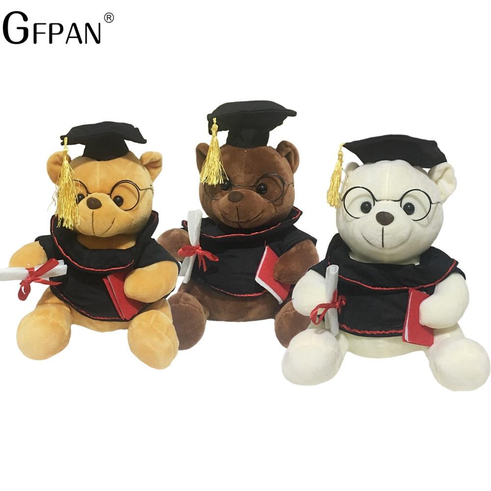 Wholesale 23-28cm Popular Doll Graduation Dr. Bear plush& stuffed Lovely Teddy Bear Animal Cute Dolls Birthday Gift For Kids lovely 22cm mr bean teddy bear plush doll