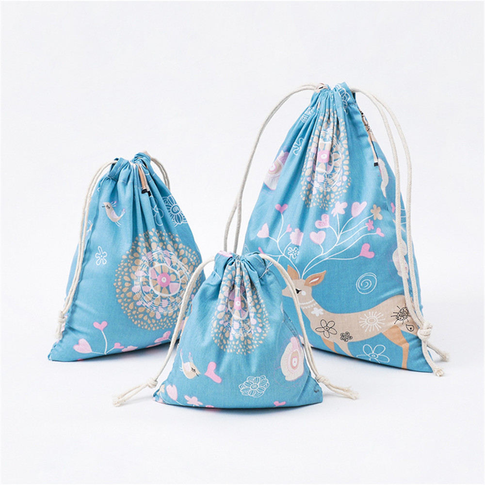 YILE 1pc Cotton Drawstring Pouch Party Gift Bag Print Deer Flower Bird Blue Base SN312