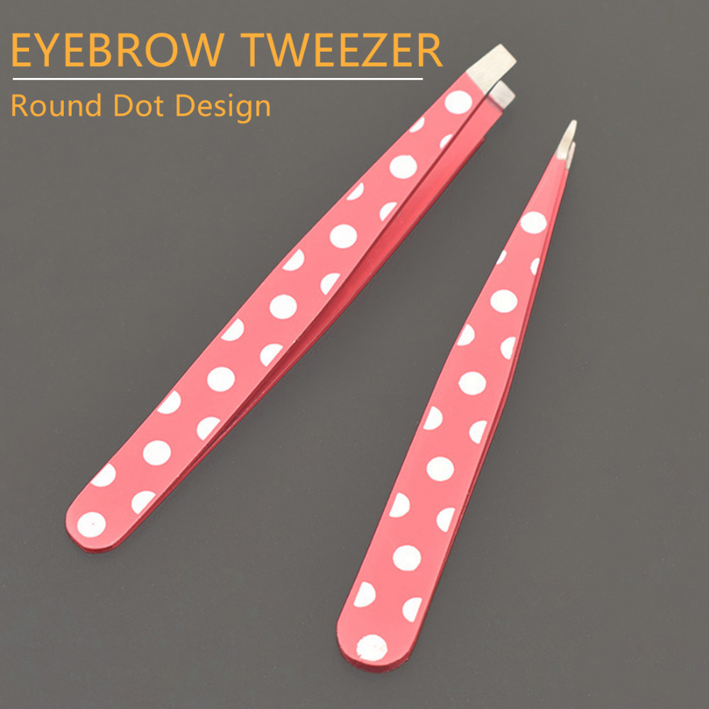 New 2Pcs/set Tip and Flat Head Stainless Steel Pink Dots Hair Removal Eyebrow Tweezer Women Lady Beauty Makeup Tools