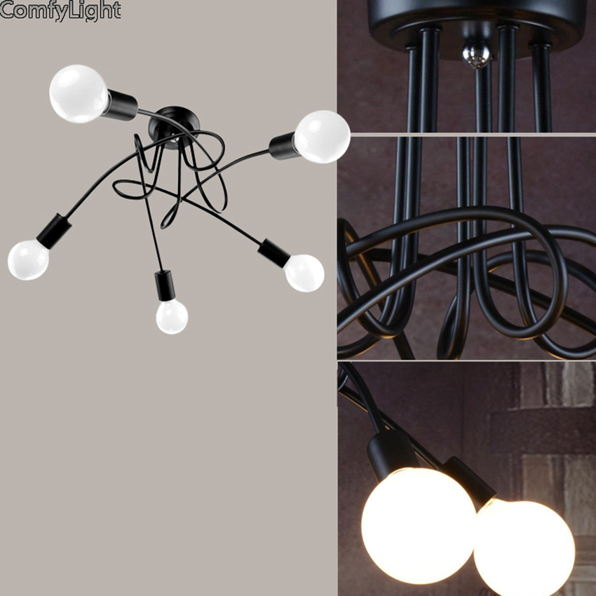 Adjustable Led Ceiling Lights For Luminaria E27 Ceiling iron Lamps Fixtures For Home Lighting Lamparas De Techo Lustre 3/5 Heads