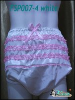 Adult Sissy Satin Frilly Incontinence Diaper Cover Purple FSP007 4 S M L XL XXL