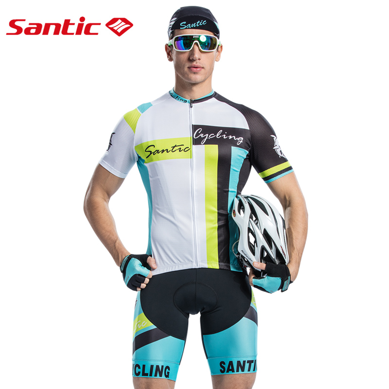 Santic Mtb Cycling Sets Men Road Mountain Bike Clothing Summer Breathable Bicycle Suit Bib Short Downhill Cycling Jerseys Male men 2018 cycling jersey bib short sleeve sets summer cycling clothing kits male breathable mtb mallot bike shirt top black skull