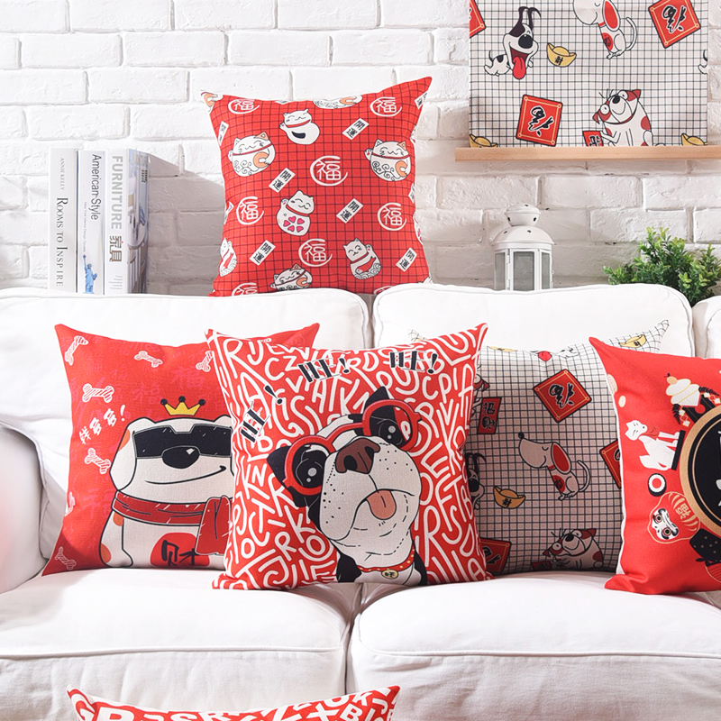 2018 Lunar New Year Zodiac Dog Cushion Cover Chinese Spring Festival Fortune Luck Dogs Cushion Covers Linen Cotton Pillow Case Fragrant Aroma Table & Sofa Linens