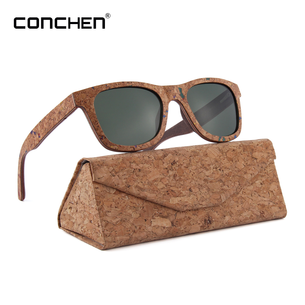 d9cccaa585 CONCHEN 2018 New Arrival Women Sunglasses Cork Laminated Wood Frame  Sunglasses Men Polarized W3076