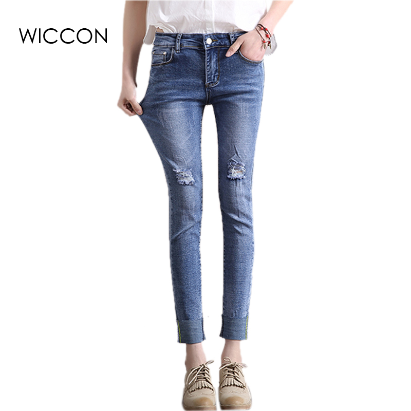 Summer jeans women Casual Trousers plus size Hole Ripped High Waist Skinny pencil pants Denim Ankle-Length Jeans high Elastic fashion high waist jeans ankle length denim pants ripped hole jeans casual summer women jeans denim pants jean new tt1138