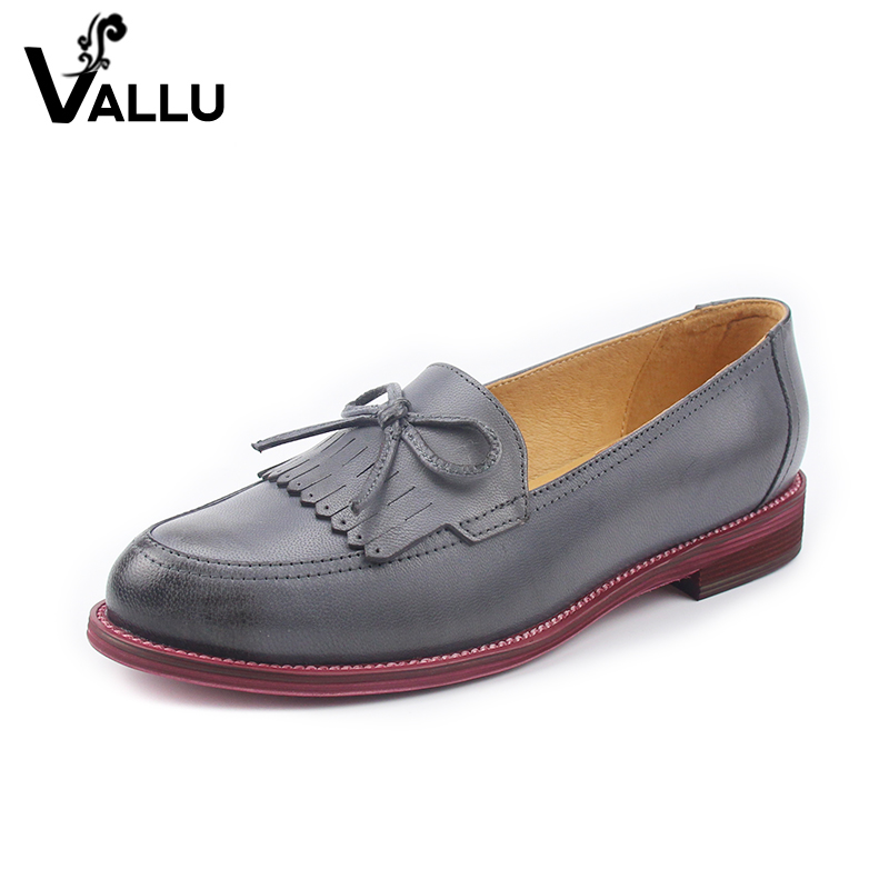 New Arrival Female Flat Shoes Handmade Brand Women Flats Butterfly Knot Original Leather England Style Tassel