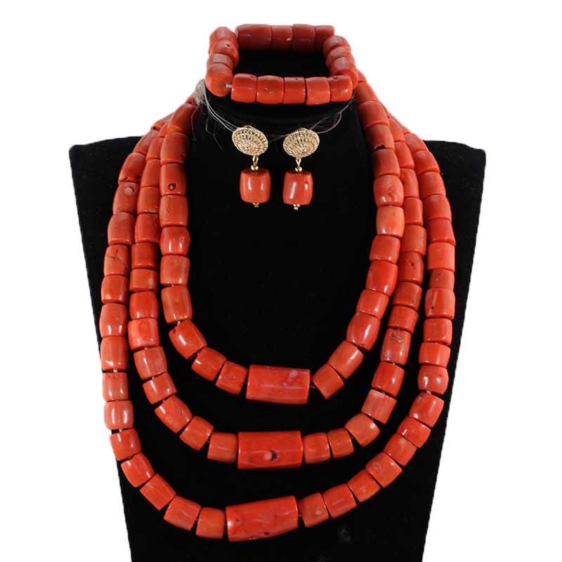 Moda nigerii koral koralik zestaw biżuterii dla kobiet prawdziwe naturalne koral koralik afrykańska biżuteria ślubna zestaw dla nowożeńców prezent biżuteria CG054 w Zestawy biżuterii od Biżuteria i akcesoria na  Grupa 2