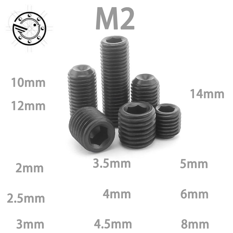 100Pcs M2 DIN916 Black Carbon Steel Metric Thread Grub Screws Inner Hexagon Socket Set Screw M2x(2/2.5/3/3.5/4/5/6/8) mm professional bike repairing inner hexagon spanner wrench black 2 2 5 3 4 5 6mm