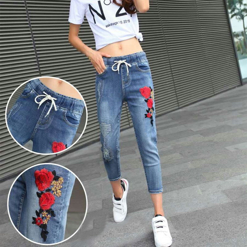 Fashion Embroidery Flower Skinny Jeans Women New Elastic High Waist Ripped Vintage Pencil Pants Denim Trousers