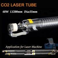Co2 лазерная гравировка трубка 60 Вт диаметр 55 мм L1200mm стекло глава лазерной лампы для резки маркировочная машина