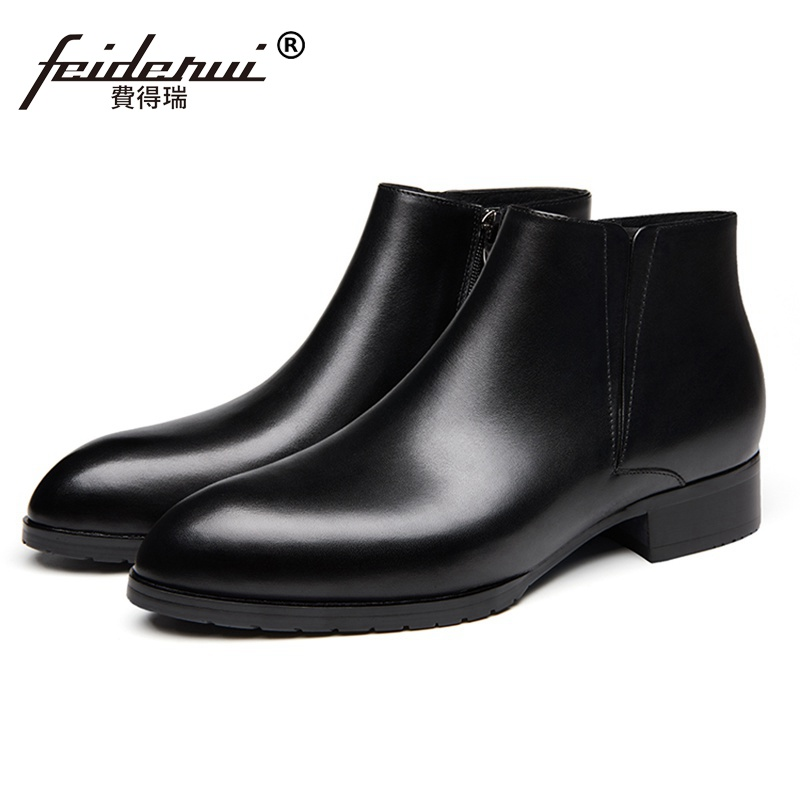 High Quality Designer Man High-Top Chelsea Riding Shoes Genuine Leather Pointed Toe Med Heels Men's  Cowboy Boots SS222