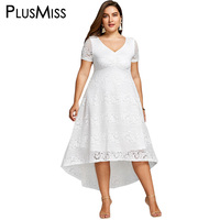 PlusMiss Plus Size 5XL 4XL White Lace Crochet Elegant Party Dress Summer 2018 Short Sleeve Maxi