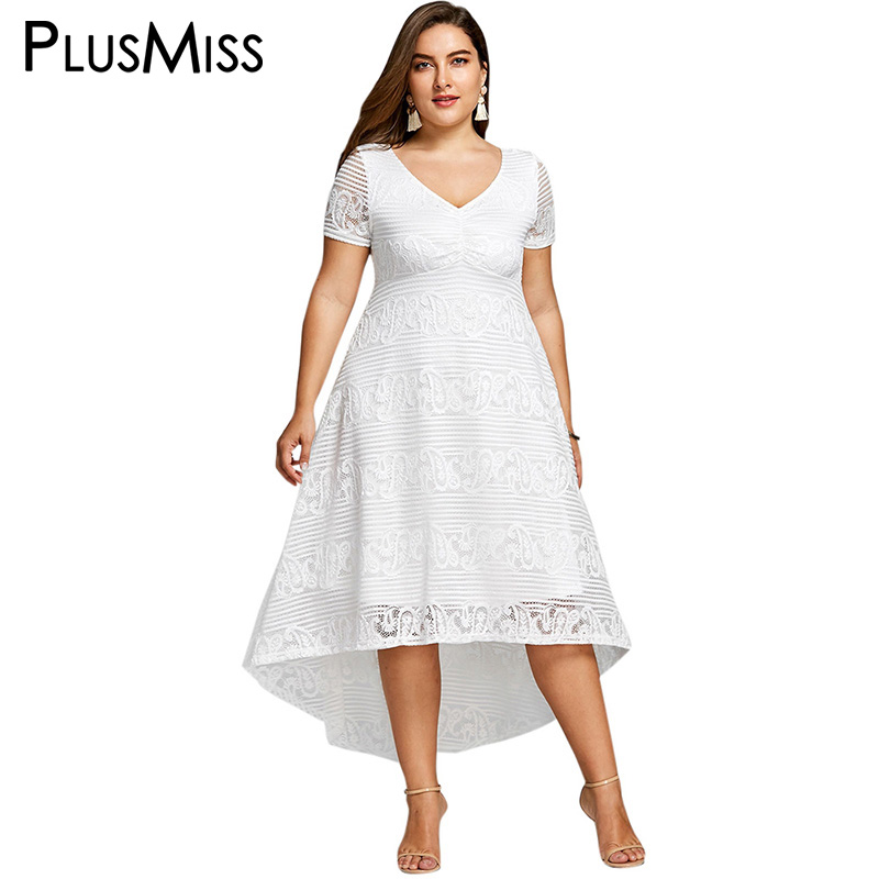 Detail Feedback Questions about PlusMiss Plus Size 5XL 4XL White Lace  Crochet Elegant Party Dress Summer 2018 Short Sleeve Maxi Long Beach Dress  Women ... 24c7912a6a59