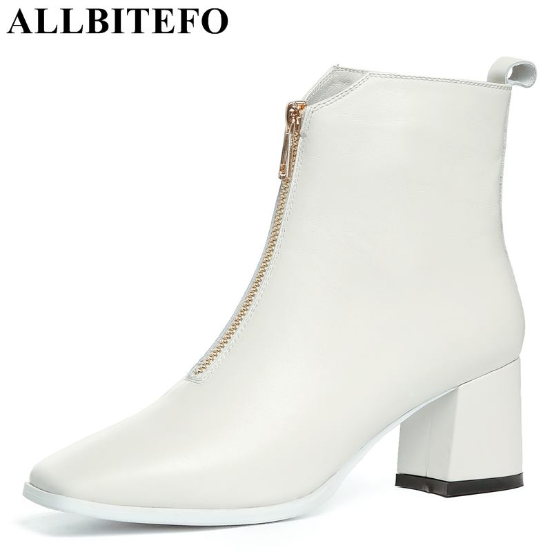 ALLBITEFO fashion brand genuine leather thick heel women ankle boots for girls motorcycle boots High quality Autumn winter shoesALLBITEFO fashion brand genuine leather thick heel women ankle boots for girls motorcycle boots High quality Autumn winter shoes