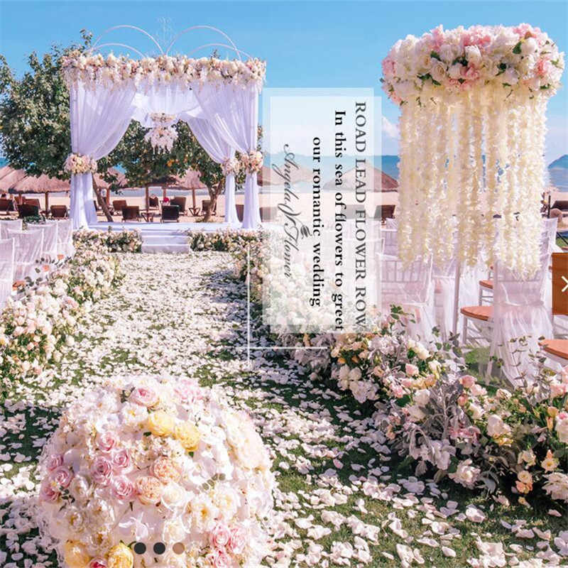 New 1m Orchid Wisteria Artificial Flower Row Diy Wedding Arch Backdrop Decor Road Guide Flower Arrangement Rose Peony Hydrangea