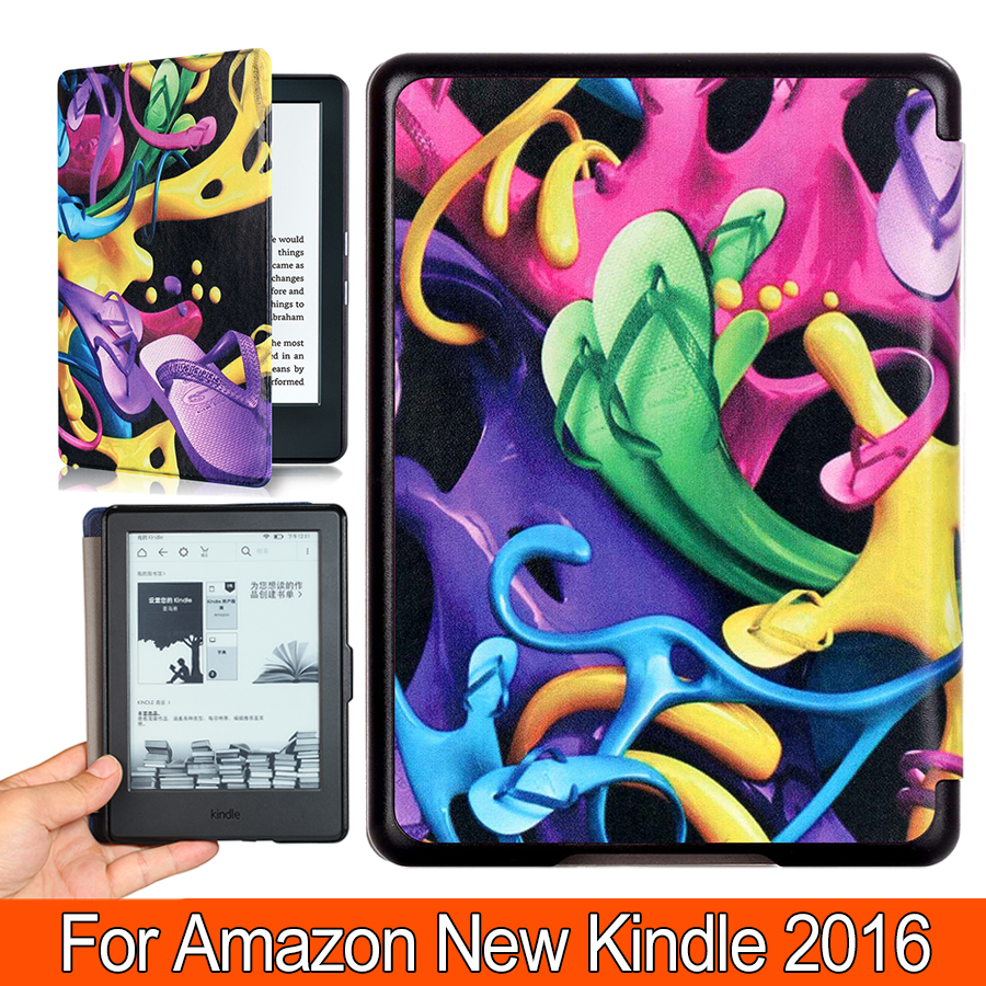 Printed Case for Kindle 8th Generation Folio Premium PU Leather Smart Cover For Amazon New Kindle 2016 E-reader 6 6 for kindle voyage protable pu leather e book cover case one hand control e reader texture protective sleeve free shipping