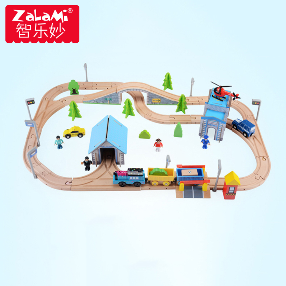 80pcs Slot Car Track Toys Rail /Road Train Bus Set Square City Traffic Scene Wooden Rail Track Locomotive Toys For Children