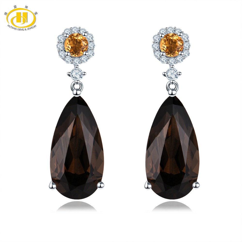 Hutang 18x9mm Natural Smoky Quartz Stud Earrings Gemstone Citrine 925 Sterling Silver Fine Zirconia Jewelry for Womens Gift NewHutang 18x9mm Natural Smoky Quartz Stud Earrings Gemstone Citrine 925 Sterling Silver Fine Zirconia Jewelry for Womens Gift New