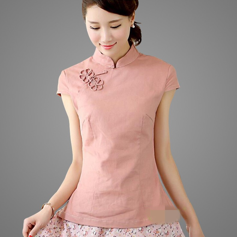 Handmade Button Solid Beige Ladies' Cotton Linen Short Sleeve Shirt Blouse Chinese Traditional Women's  Silm Tops S -XXL TC367