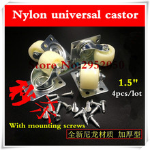"Free shipping 4PCS/lot  1.5"" Nylon Casters refrigerator refrigerator furniture sofa small pulley Universal  Wheels"