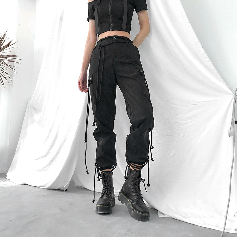 Women Harajuku Black Harem   Pants   Elastic High Waist Ankle length Cargo   Pants     Capris   Summer Streetwear Hip Hop Joggers Trousers