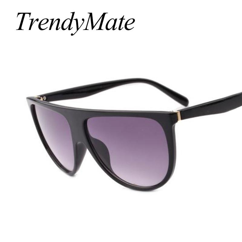 2017 Brand Designer Women Retro Flat Top Sunglasses Vintage Acetate Shaded Lens Thin Shadow Glasses Men Oculos De Sol 744M 4