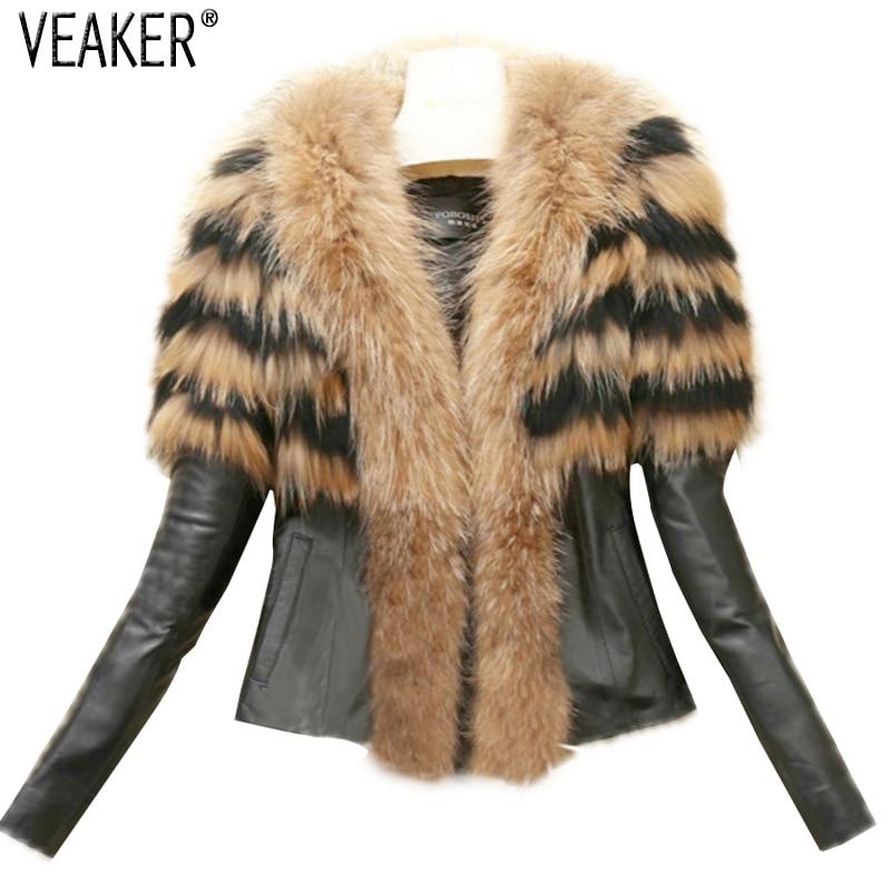 2018 Autumn Winter Women's Faux Fur Coat Jacket Female Slim Fit PU Leather Fur Coats Fluffy Outerwear Jackets Plus Size S-6XL