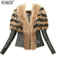 2019 Autumn Winter Women's Faux Fur Coat Jacket Female Slim Fit PU Leather Fur Coats Fluffy Outerwear Jackets Plus Size S-6XL