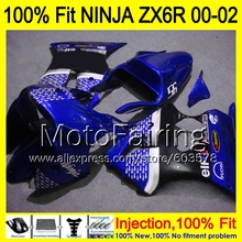 8Gifts Injection mold Body For KAWASAKI NINJA ZX-6R 00-02 IHM66 ZX 6R ZX6R 00 01 02 ZX636 636 2000 2001 2002 Fairing blue black