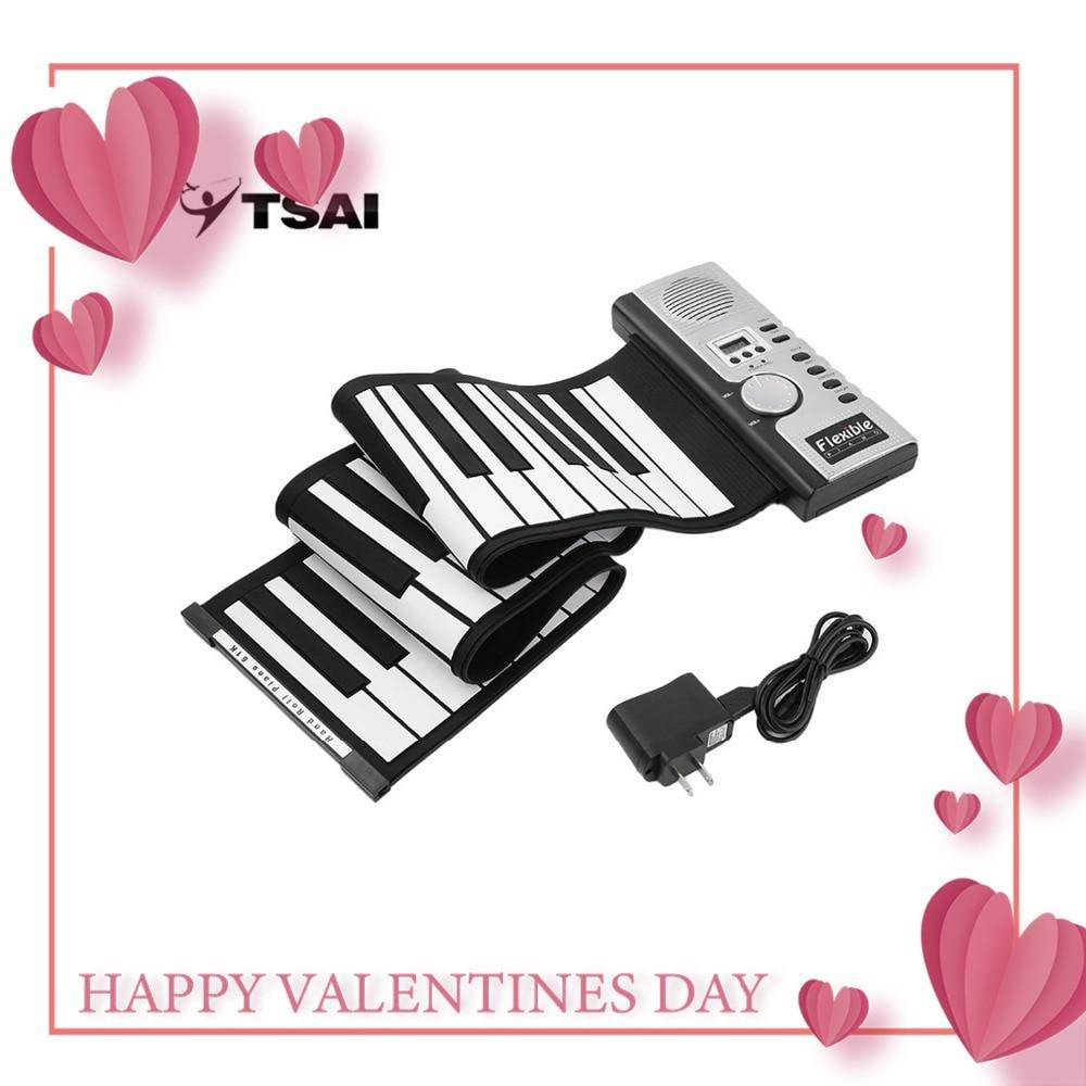 TSAI Piano Électronique Noir et Blanc 61 Touches Universel Flexible Roll Up clavier programmable Piano pour guitarra joueurs populaire nouveau