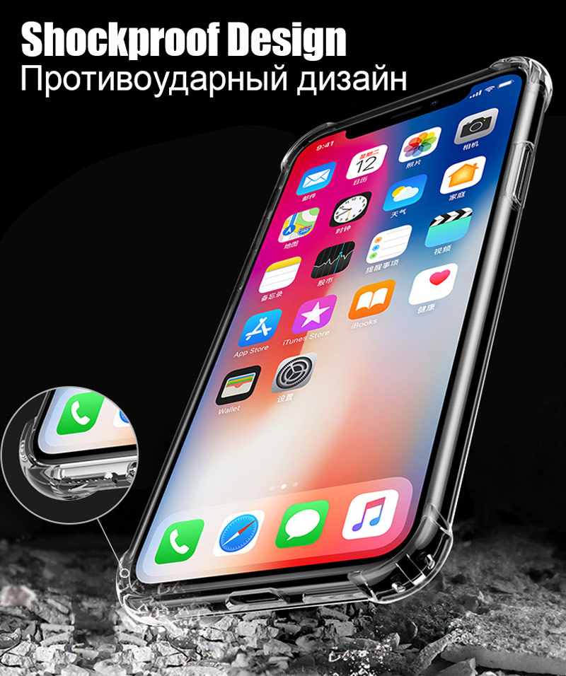 TOMKAS Anti-knock Cases For iPhone X 8 Plus Case Silicone Soft TPU Clear Cover Case For iPhone 6 6S 7 8 Plus X Cases Transparent (2)