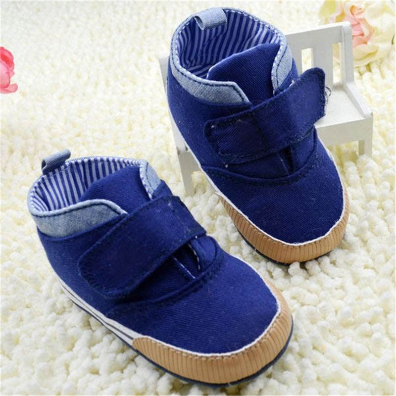 New StylishNewborn Baby Kid Boy Crib Shoes Anti-Slip Toddler Ankle Boots Canvas Prewalker First Walkers 0-18M Higt Quality